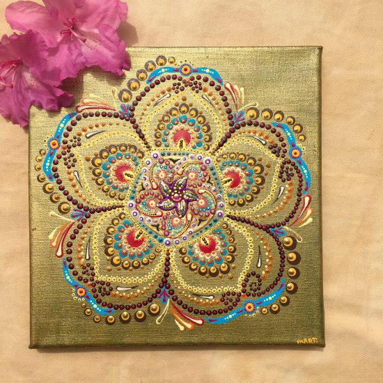 canvas dotpainting boho flower